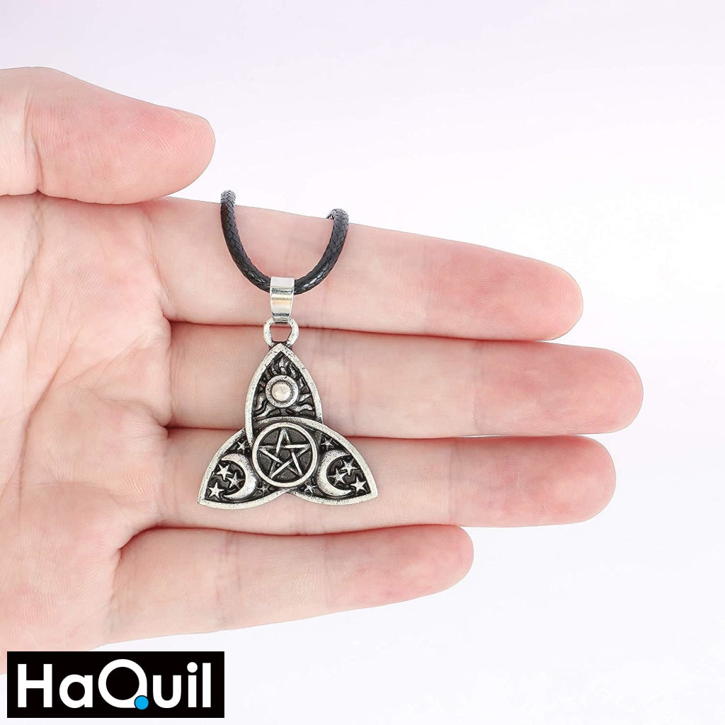 Haquil Viking Triple Moon Goddess Triquetra Necklace Jewelry