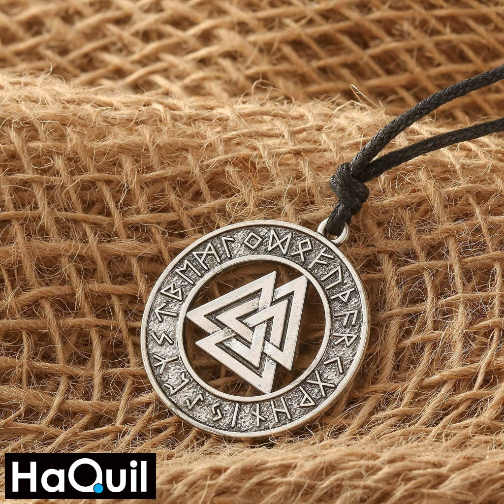 Haquil Viking Valknut Nordic Runes Necklace Jewelry
