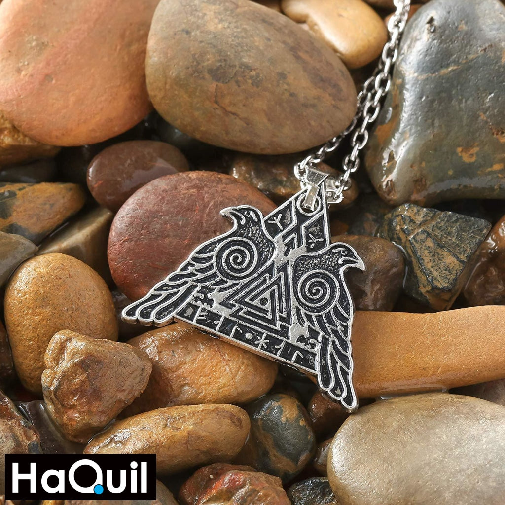 Haquil Viking Valknut Raven Military Protection Necklace Jewelry