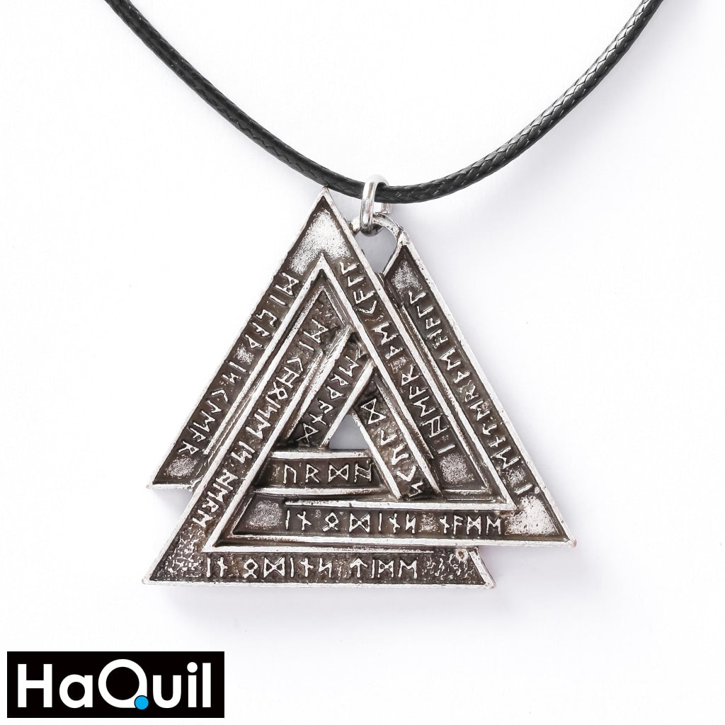 Haquil Viking Valknut Symbol Nordic Runes Necklace Alloy / Boys Metal Jewelry