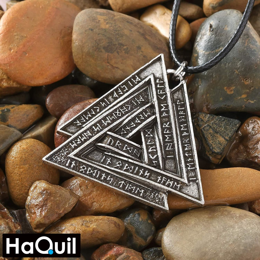 Haquil Viking Valknut Symbol Nordic Runes Necklace Jewelry