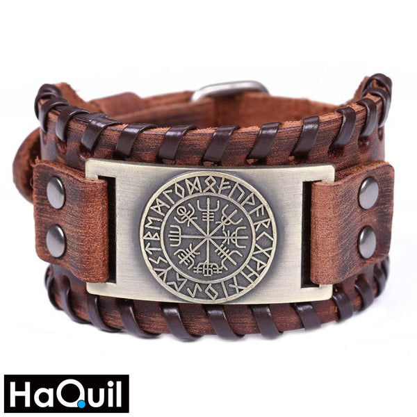 Haquil Viking Vegvisir Nordic Runes Bangle Bracelet Alloy / Boys Leather Metal Jewelry