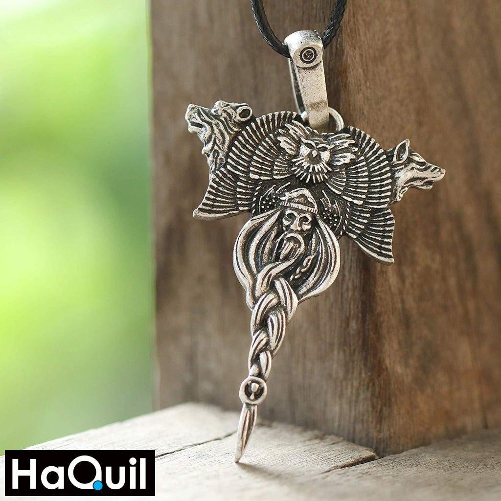 Haquil Viking Veles Bear Wolf Necklace Jewelry