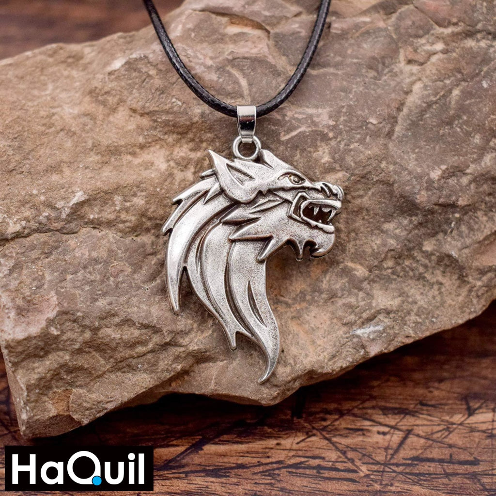 Haquil Viking Wild Wolf Necklace Jewelry