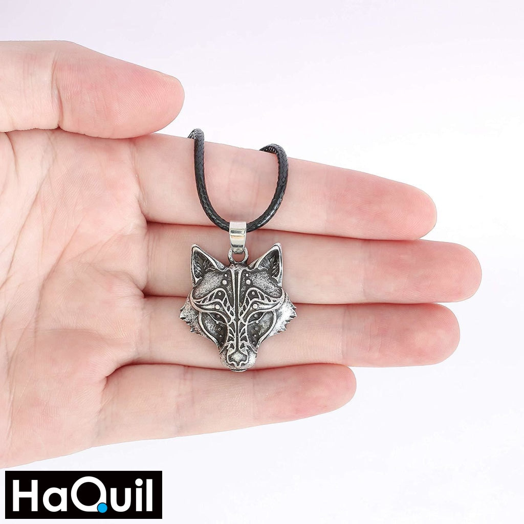 Haquil Viking Wolf And Raven Winged Necklace Jewelry