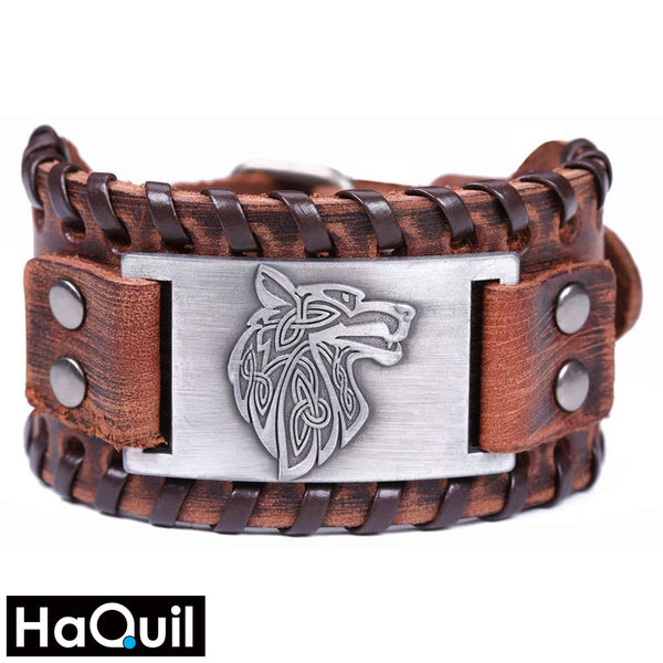 Haquil Viking Wolf Bangle Bracelet Alloy / Boys Leather Metal Jewelry