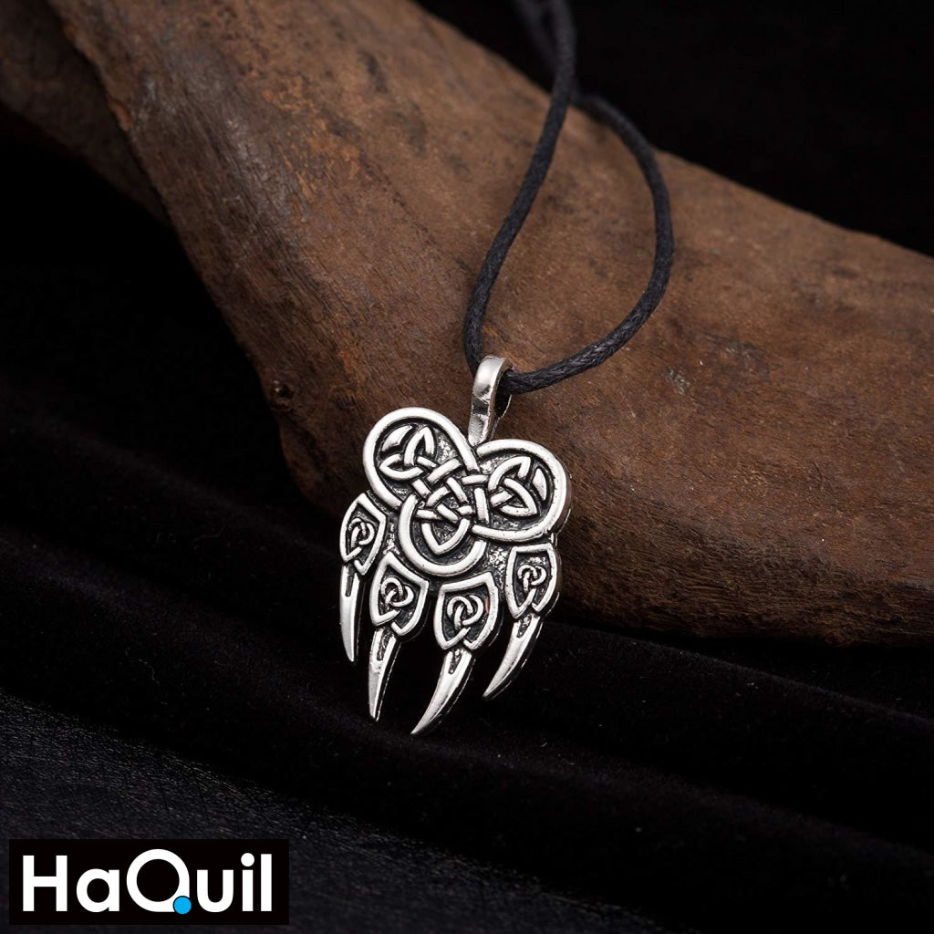 Haquil Viking Wolf Claw Nordic Runes Necklace Jewelry