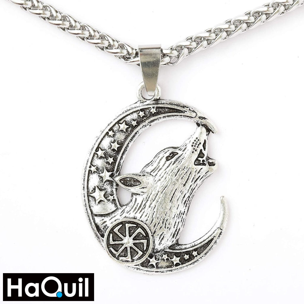 Haquil Viking Wolf Crescent Moon And Star Necklace Alloy / Womens Metal Jewelry