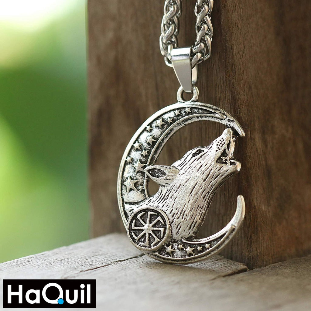 Haquil Viking Wolf Crescent Moon And Star Necklace Jewelry