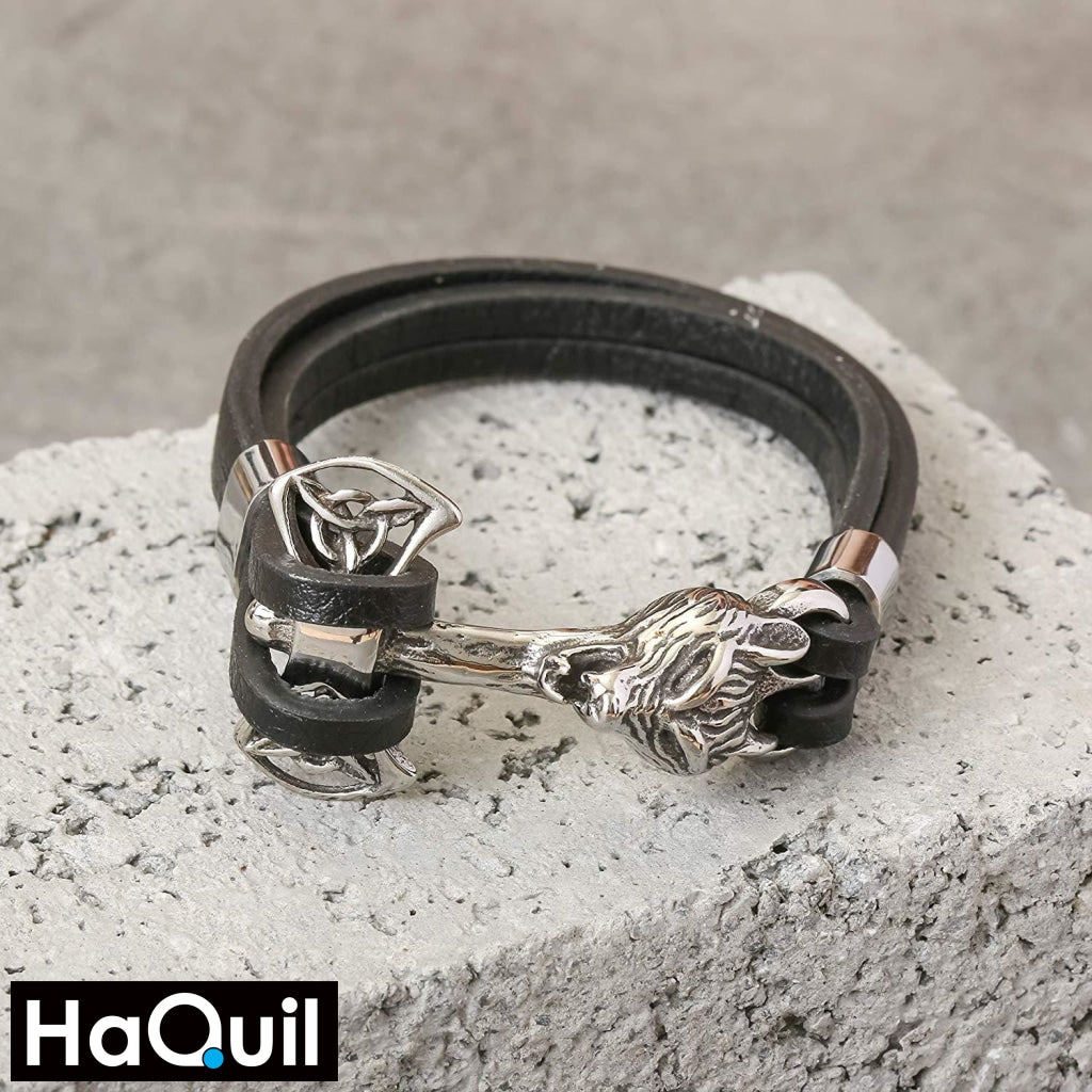 Haquil Viking Wolf Hammer Leather Bracelet Jewelry