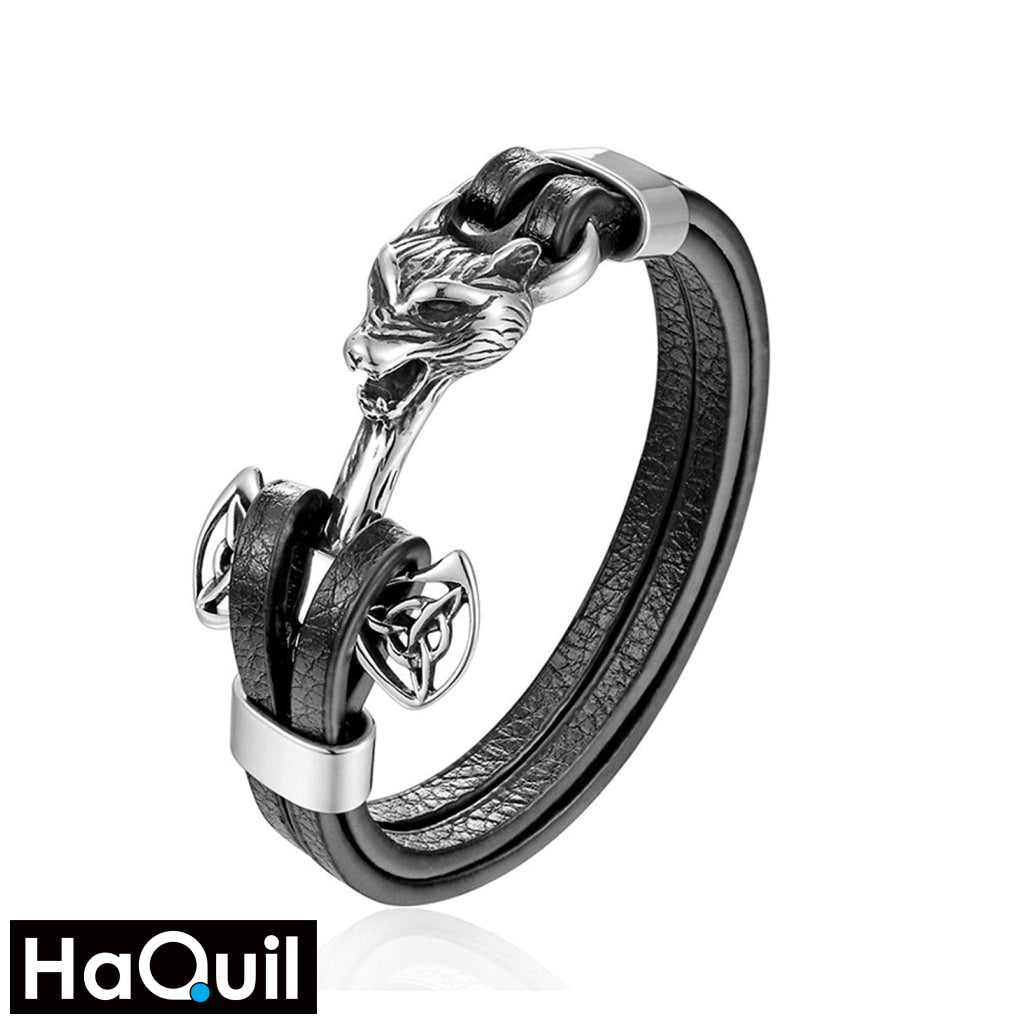 Haquil Viking Wolf Hammer Leather Bracelet Stainless-Steel / Boys Leather Metal Jewelry