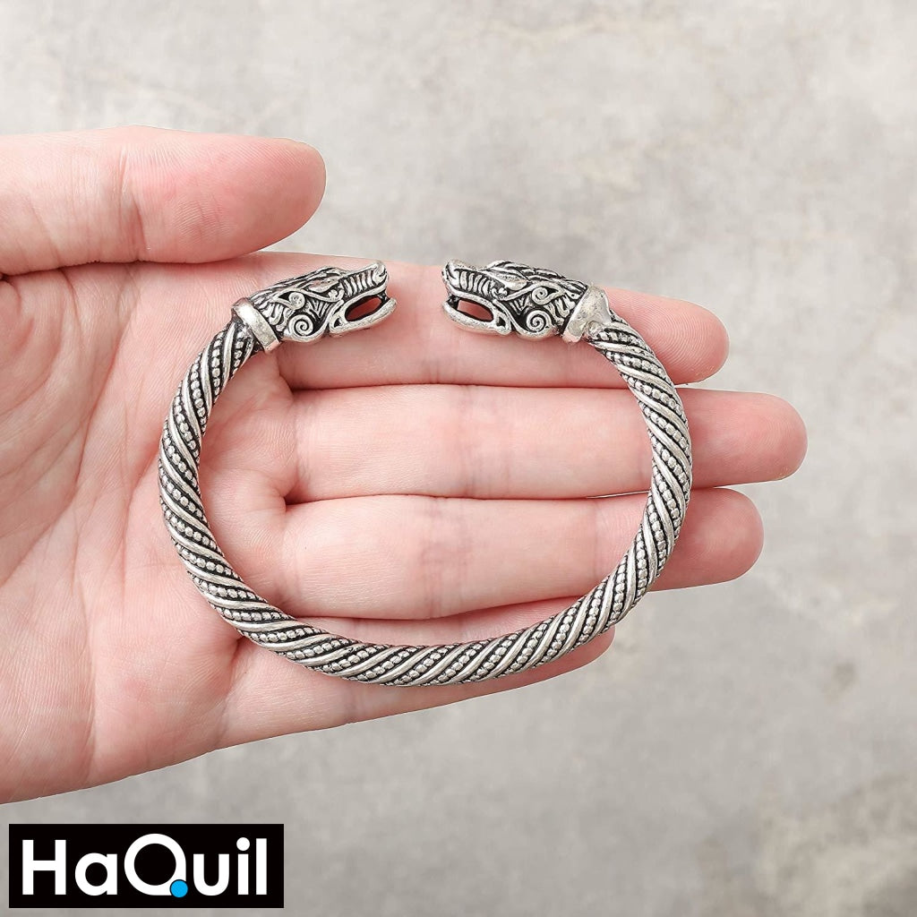 Haquil Viking Wolf Head Bangle Bracelet Jewelry