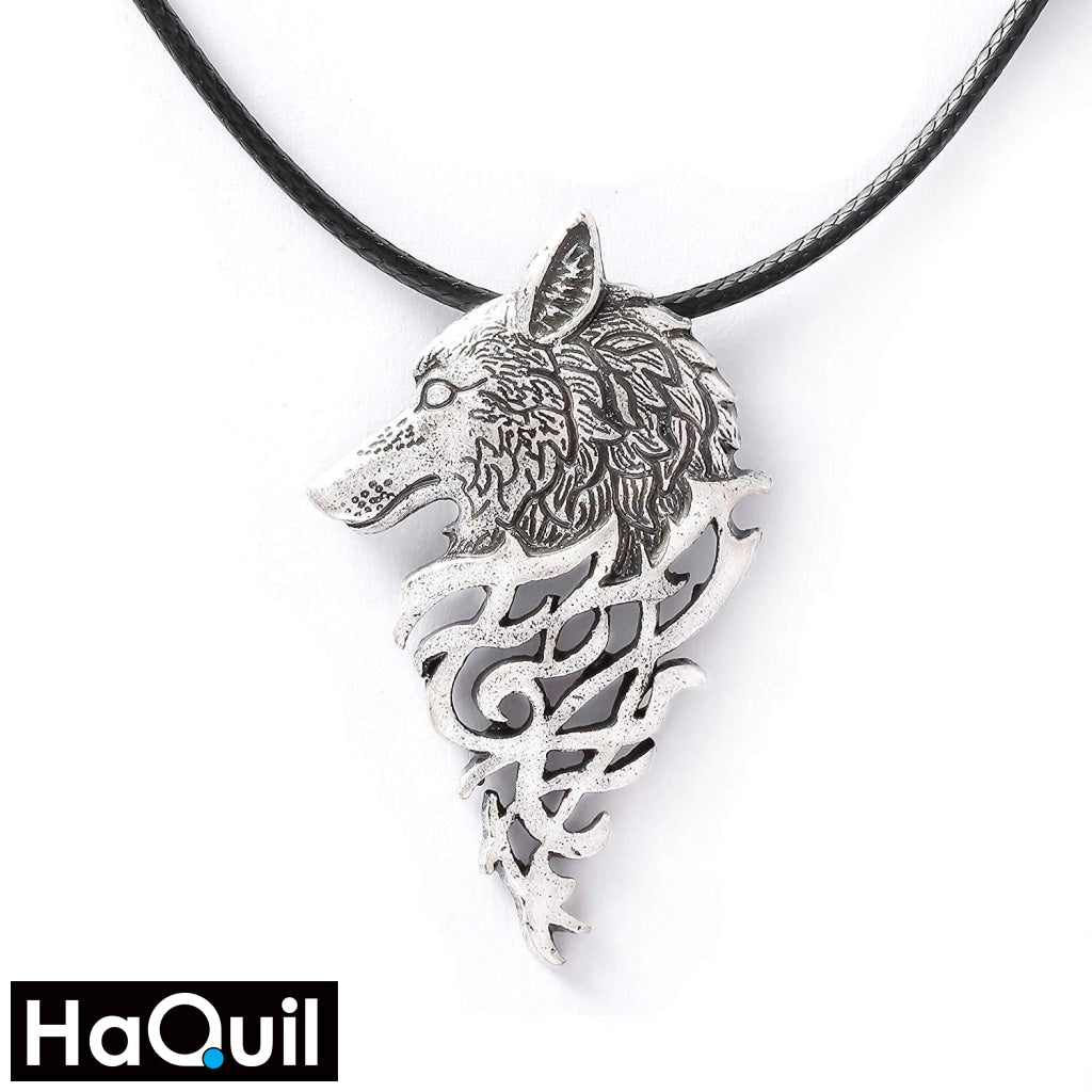 Haquil Viking Wolf Head Fire Necklace Alloy / Mens Metal Jewelry