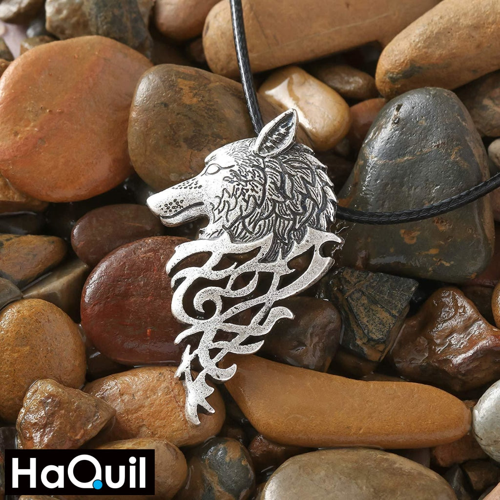 Haquil Viking Wolf Head Fire Necklace Jewelry