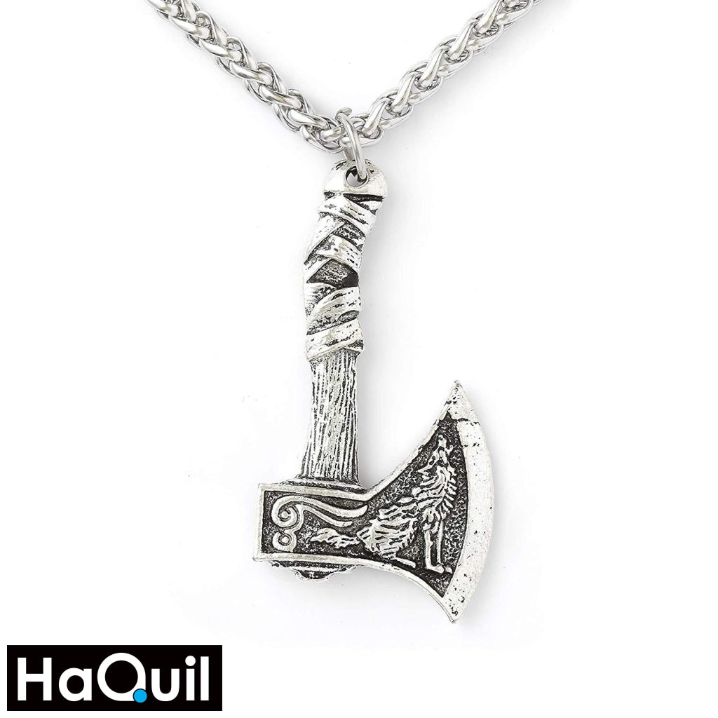 Haquil Viking Wolf Raven Double-Sided Axe Necklace Alloy / Womens Metal Jewelry