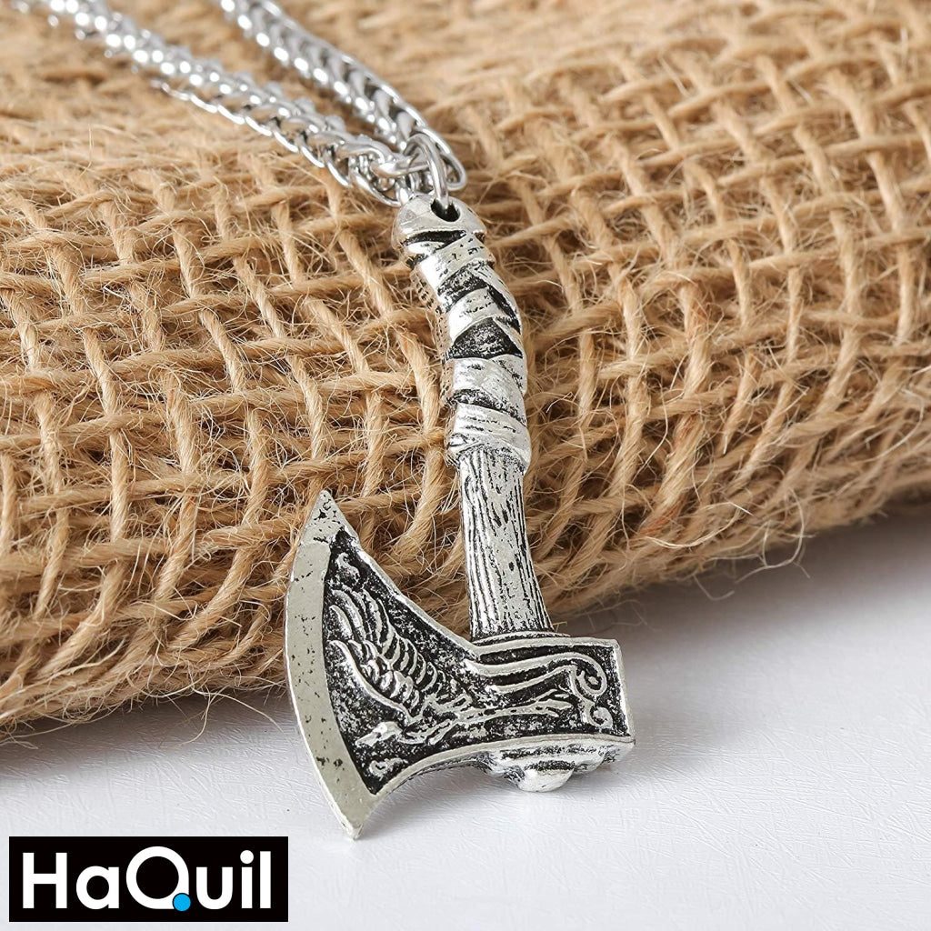 Haquil Viking Wolf Raven Double-Sided Axe Necklace Jewelry