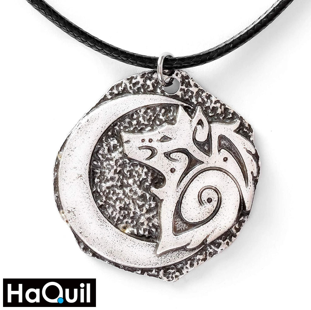 Haquil Viking Young Wolf And Moon Necklace Alloy / Boys Metal Jewelry