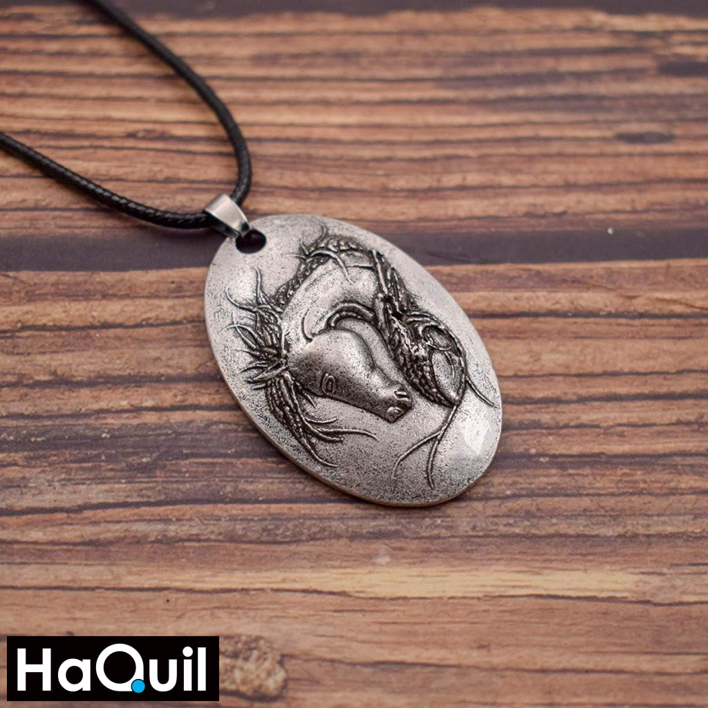 Haquil Vintage Gypsy Vanner Horse Head Necklace Jewelry