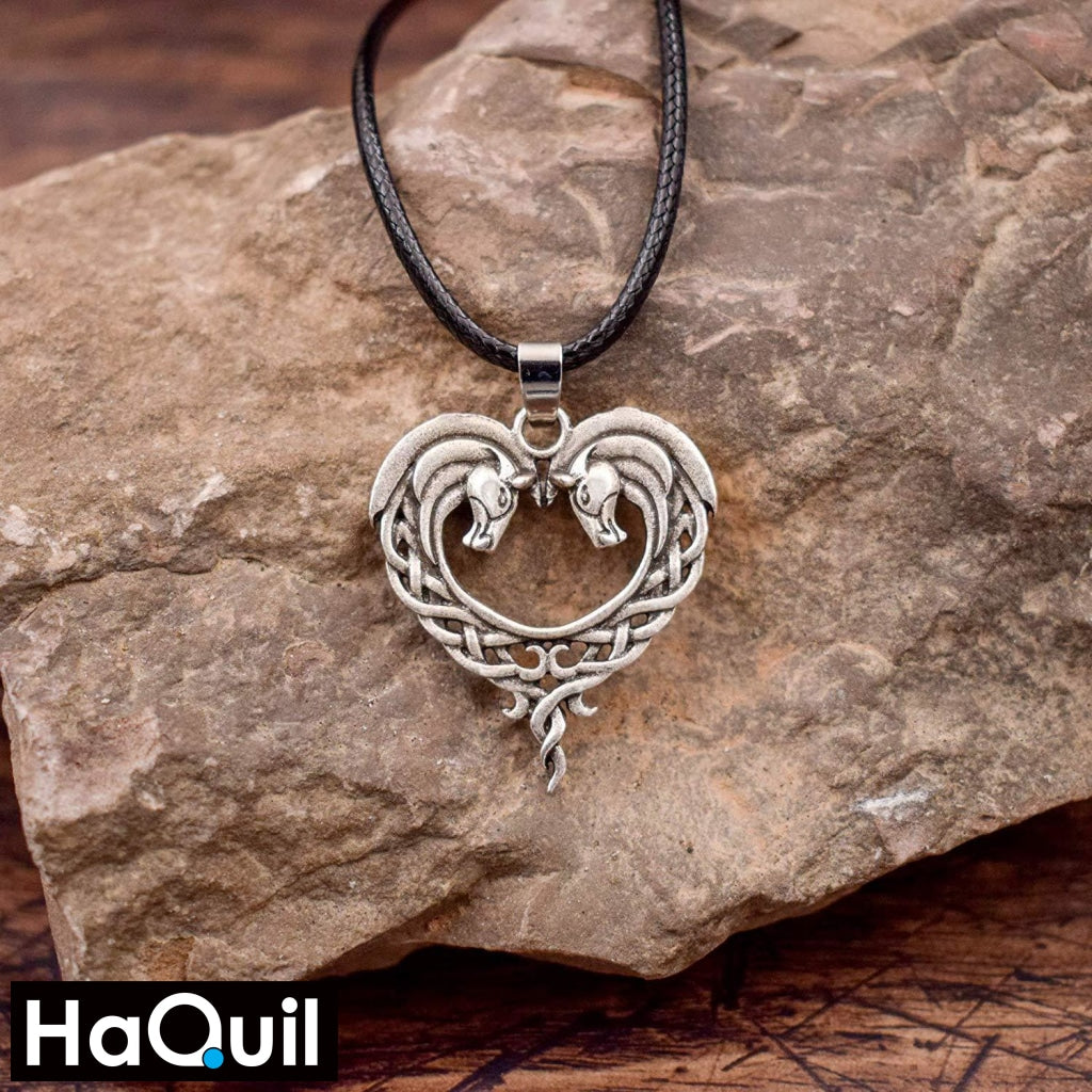 Haquil Vintage Horse Couple Heart Necklace Jewelry