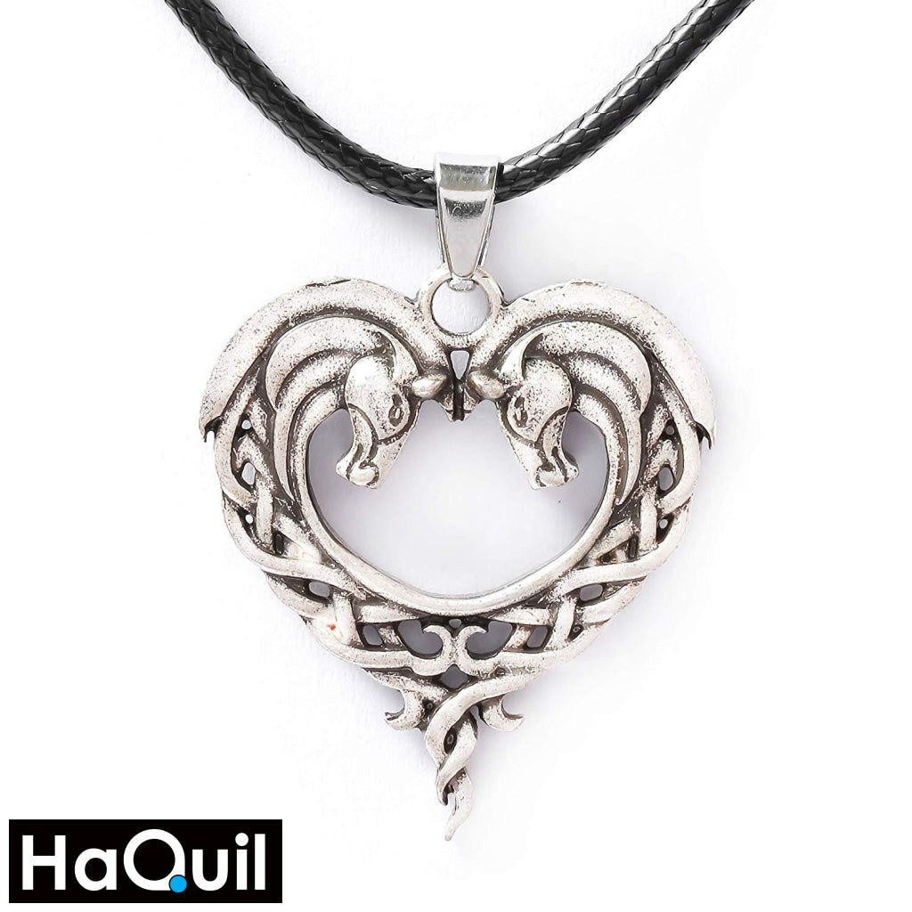 Haquil Vintage Horse Couple Heart Necklace New Jewelry