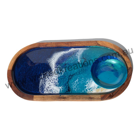 Ocean Acacia Wood Resin Tray & Dip Dish  #2107