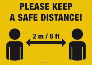 "Preview ""Please keep a safe distance"" Sign by Gobrecht & Ulrich"