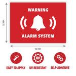 Warning Alarm System Sticker with Dimensions by Gobrecht & Ulrich