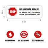 No Junk Mail Sign for Letterboxes - Medium - with Dimensions - Junk Mail Blocker by Gobrecht & Ulrich