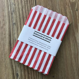 Retro Candy Bags - Red / White Stripes - 13 x 18cm with packaging by Gobrecht & Ulrich
