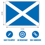 Gobrecht & Ulrich Scottish Flag Stickers with Dimensions