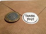 Size comparison thank you sticker and £2 coin