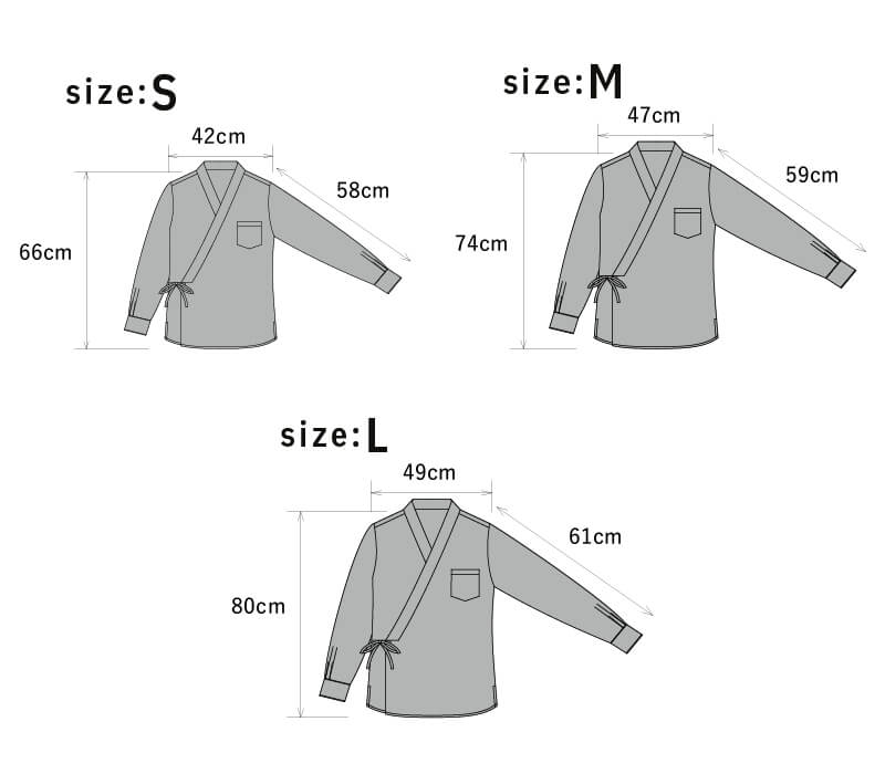Size chart of Samurai Mode Shirt / unisex design cotton shirt Next Kimono Samurai Mode Series from KUDEN by TAKAHIRO SATO