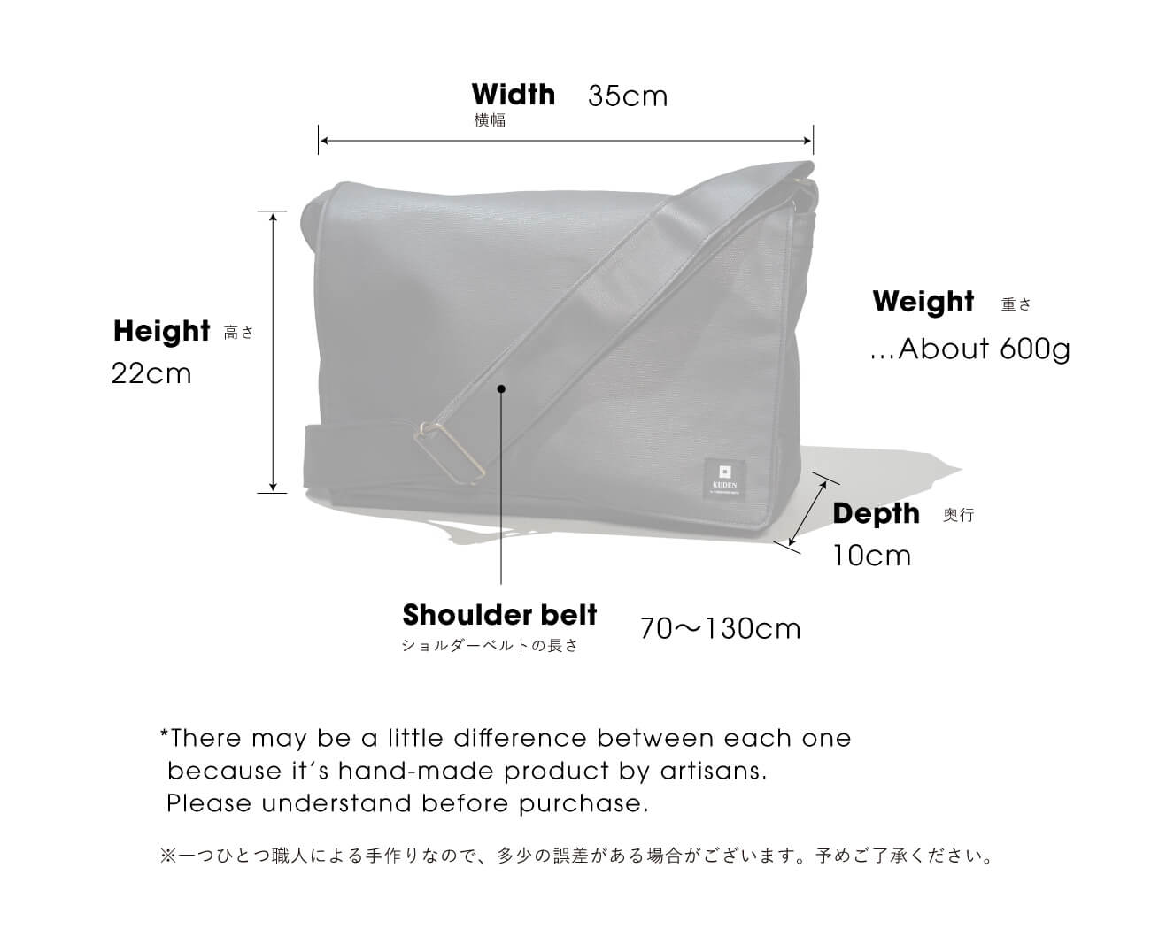 Size chart of 雑嚢 Multi Shoulder Bag from KUDEN by TAKAHIRO SATO
