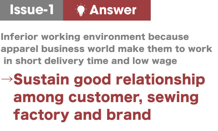 issue-1  answer,→Sustain good relationship among customer, sewing factory and brand