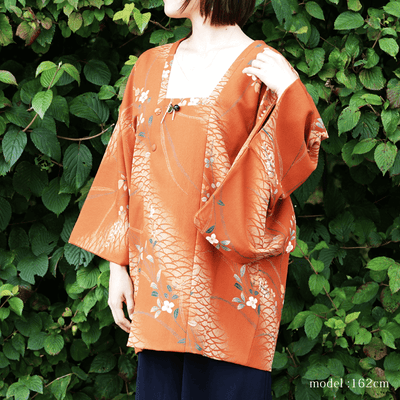 Floral orange  Haori coat michiyuki, Japanese vintage kimono,womens, female