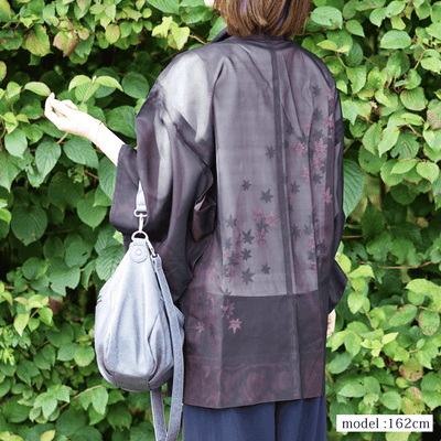 See-trough Japanese maple summer haori,Japanese vintage kimono,womens haori kimetsu no yaiba samurai
