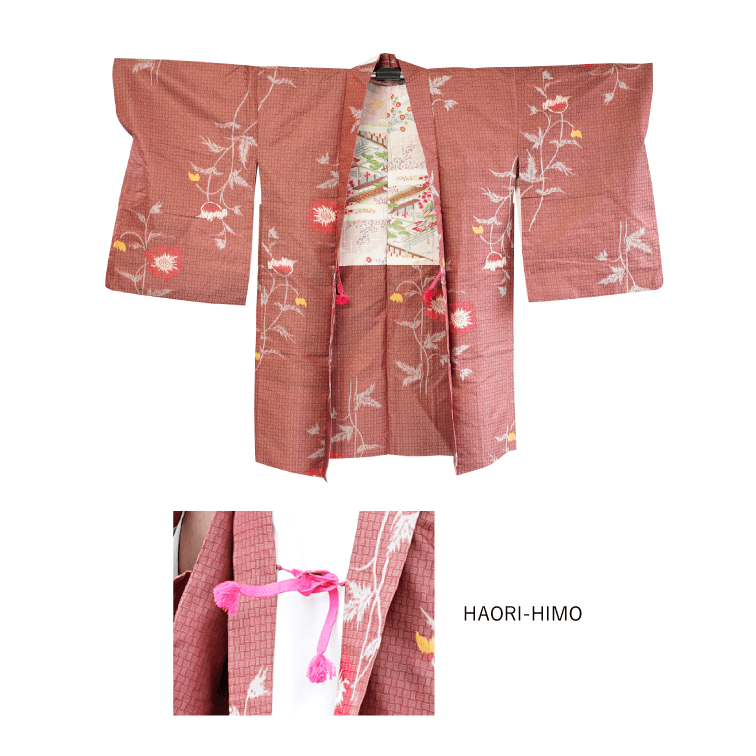 Pink flower pattern mesh design Haori