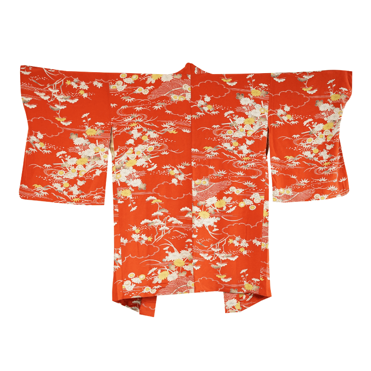 Orange flower and plants design Haori