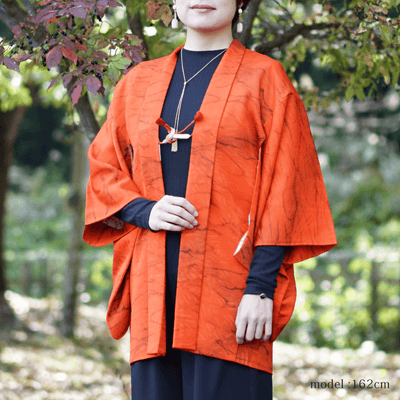 Bright orange Haori,Japanese vintage kimono,womens haori