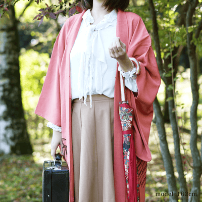Pink haori with black bamboo leaf design,Japanese vintage kimono,womens haori Kimetsu no yaiba