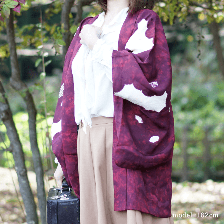 Red-purple japanese retro pattern Haori,Japanese kimono,womens haori