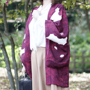 Red purple Japanese retro pattern haori,Japanese vintage kimono,womens haori