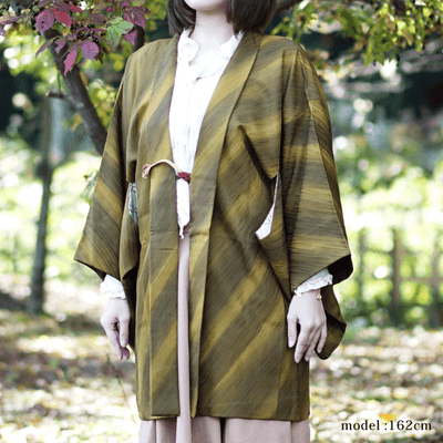Dark yellow and green chic haori,Japanese vintage kimono,womens haori