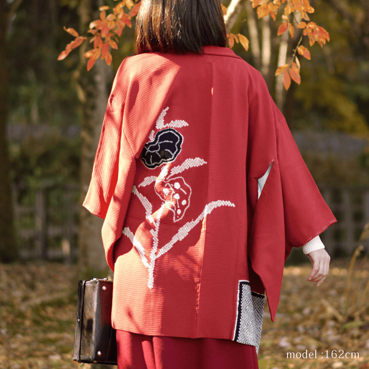 Black flower Shibori design red Haori,Japanese vintage kimono,womens haori
