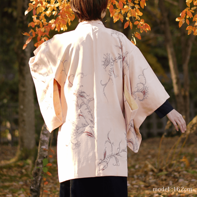 Red flower & leaf design pink Haori,Japanese kimono,womens haori
