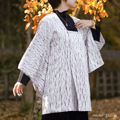 Gray michiyuki with red pattern,Japanese vintage kimono,womens, female Kimetsu no yaiba