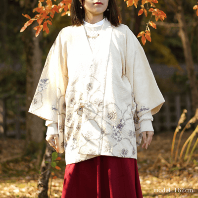 Yellow and purple floral shibori design dochugi,Japanese vintage kimono,womens haori kimetsu no yaiba samurai