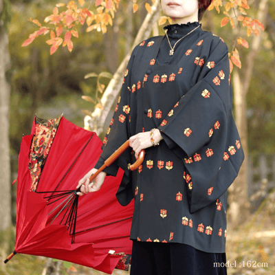 Black michiyuki with cute red and orange pattern,Japanese vintage kimono,womens haori