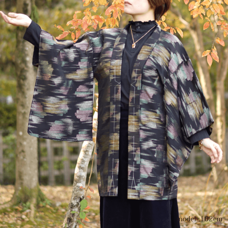 Black haori with shiny pattern,Japanese kimono,womens haori