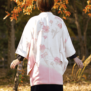 Pink gradation and flowers design haori,Japanese vintage kimono,womens haori Kimetsu no yaiba